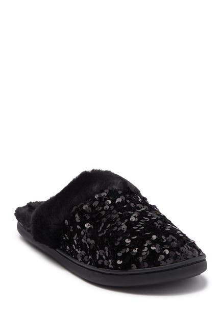 Image of Kensie Sequin Faux Fur Slipper