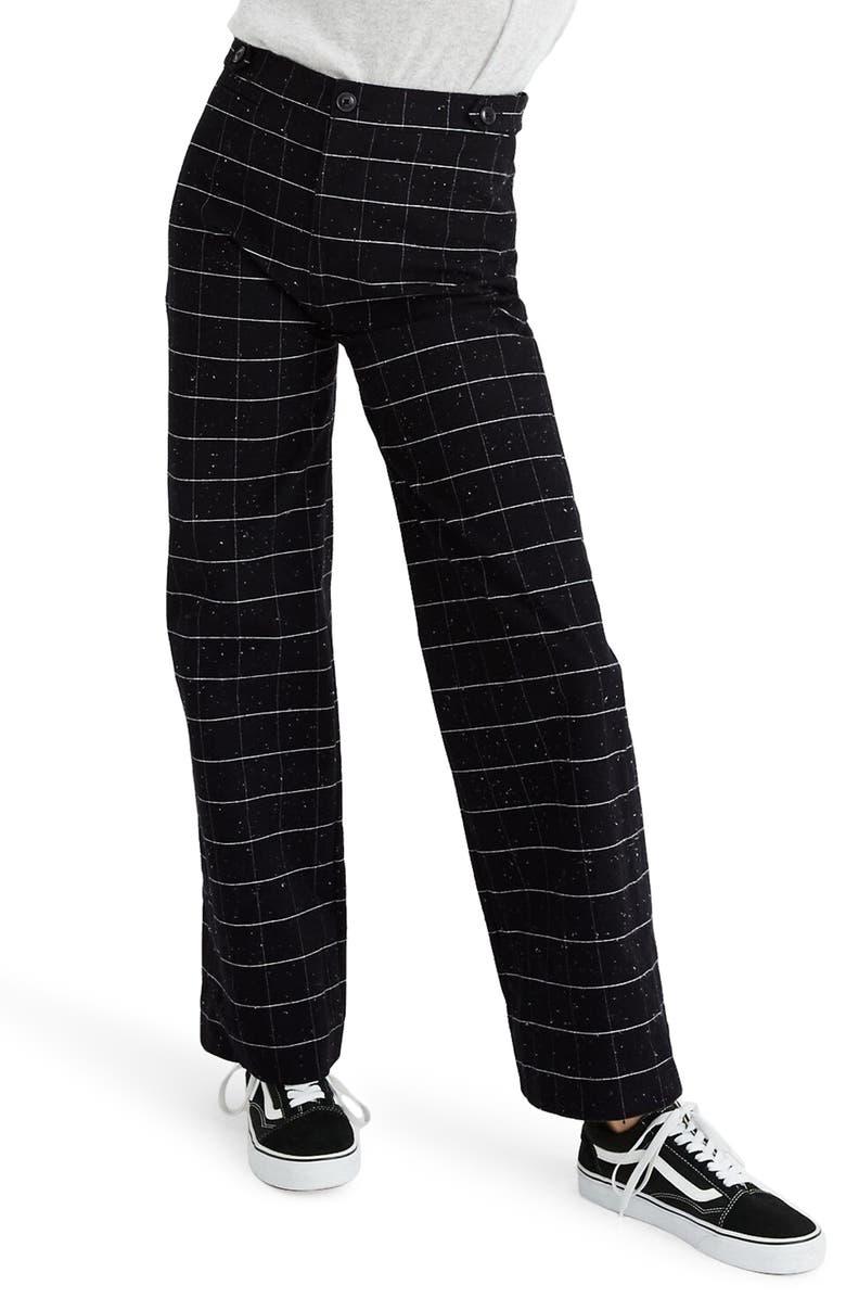 MADEWELL Emmett Donegal Windowpane Wide Leg Pants, Main, color, WINDOWPANE DONEGAL CHARCOAL
