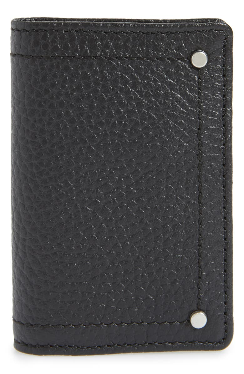 TREASURE & BOND Devon Pebbled Leather Card Case, Main, color, 001