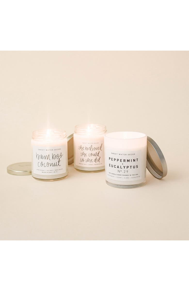 SWEET WATER DECOR She Believed She Could So She Did 9 oz. Soy Candle - Set of 2, Main, color, WHITE