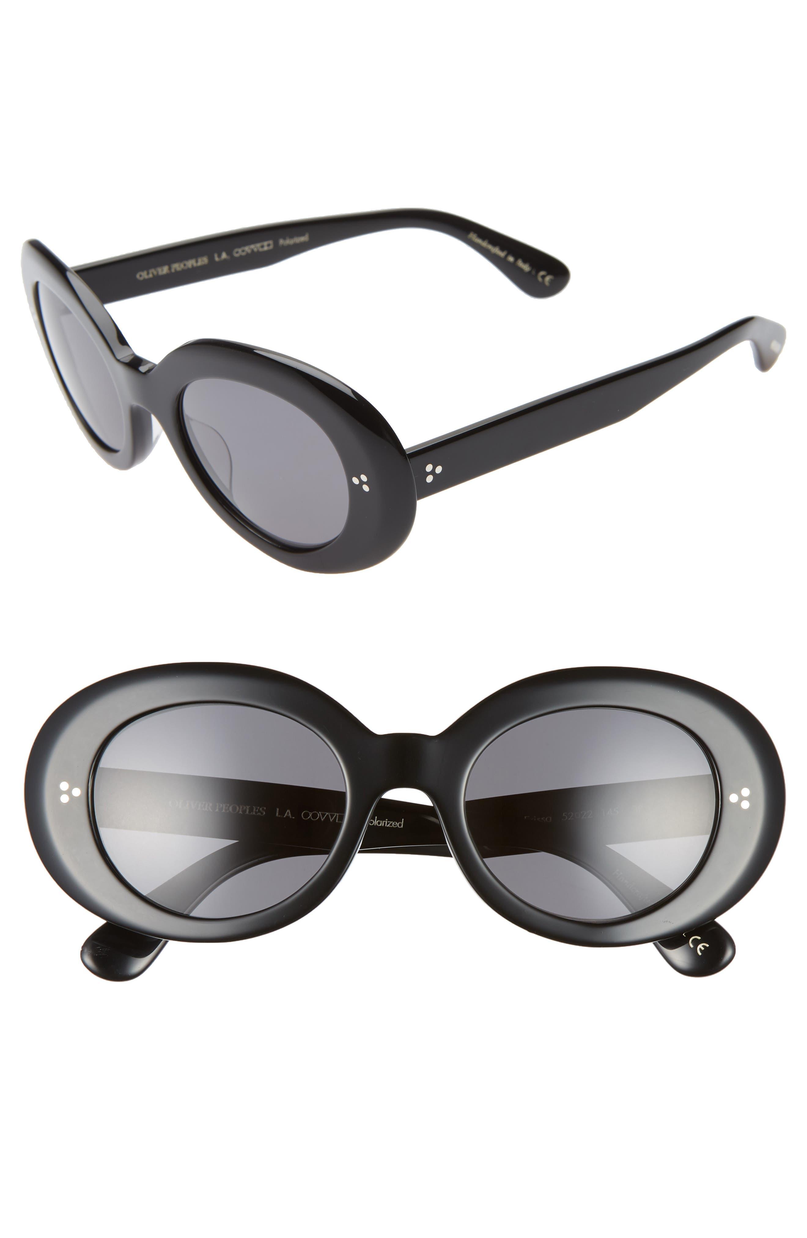 Oliver Peoples Erissa 52Mm Round Sunglasses - Black/ Dark Grey