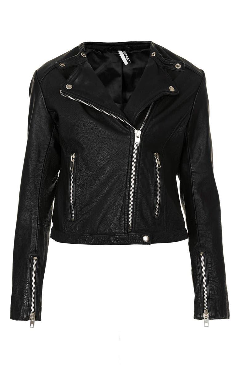 TOPSHOP Collarless Leather Biker Jacket, Main, color, 001