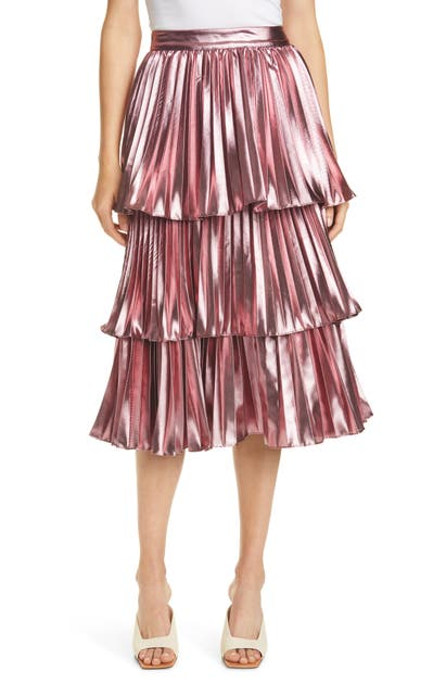 Tanya Taylor ARIANA METALLIC PLEATED SKIRT