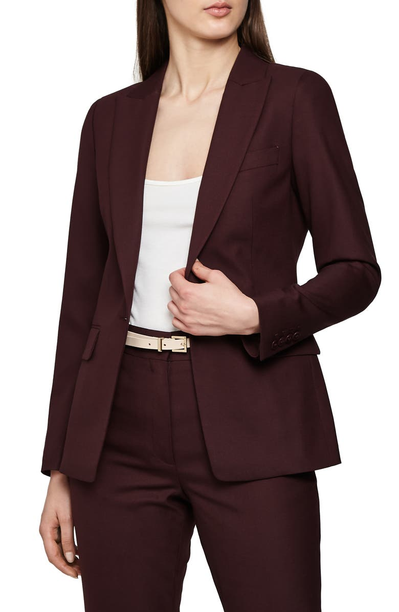REISS Lissia Textured Wool Blend Suit Jacket, Main, color, 930