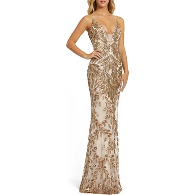 MAC Duggal Sequin Leaf Mermaid Gown, Grey
