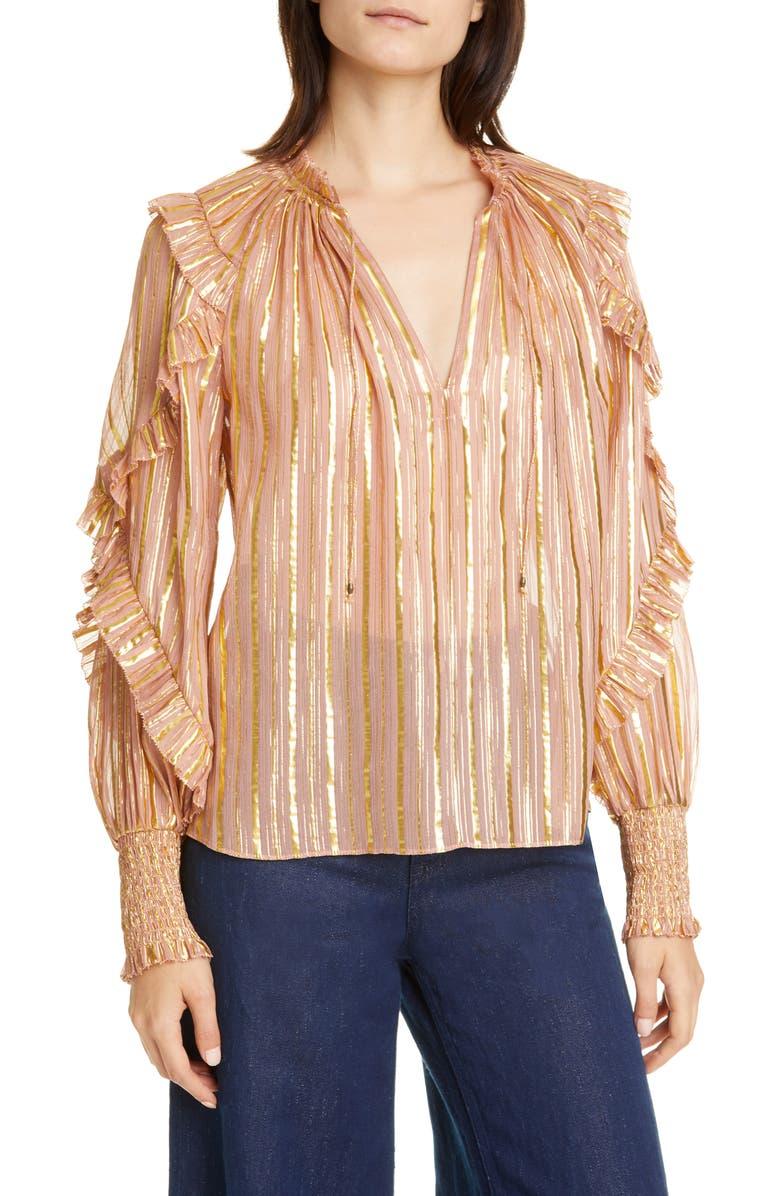 ULLA JOHNSON Lucinda Metallic Stripe Silk Blend Blouse, Main, color, ROSE