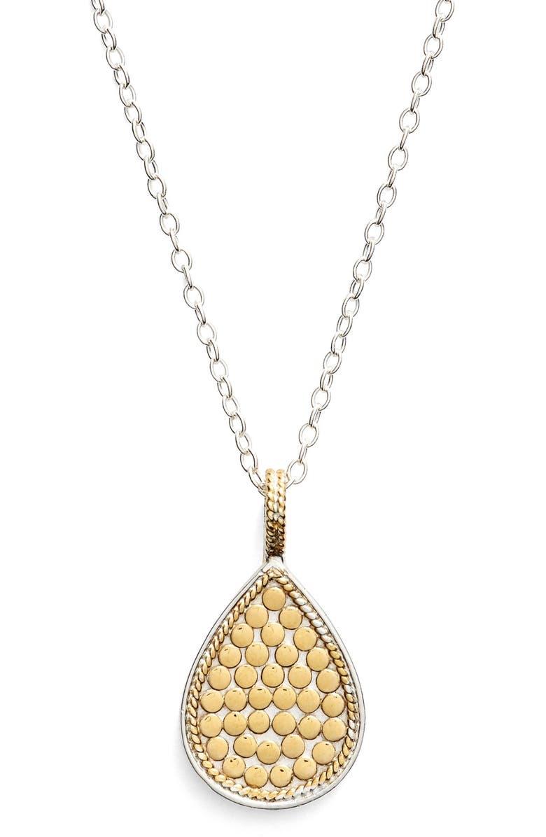 ANNA BECK Reversible Teardrop Pendant Necklace, Main, color, GOLD/ SILVER