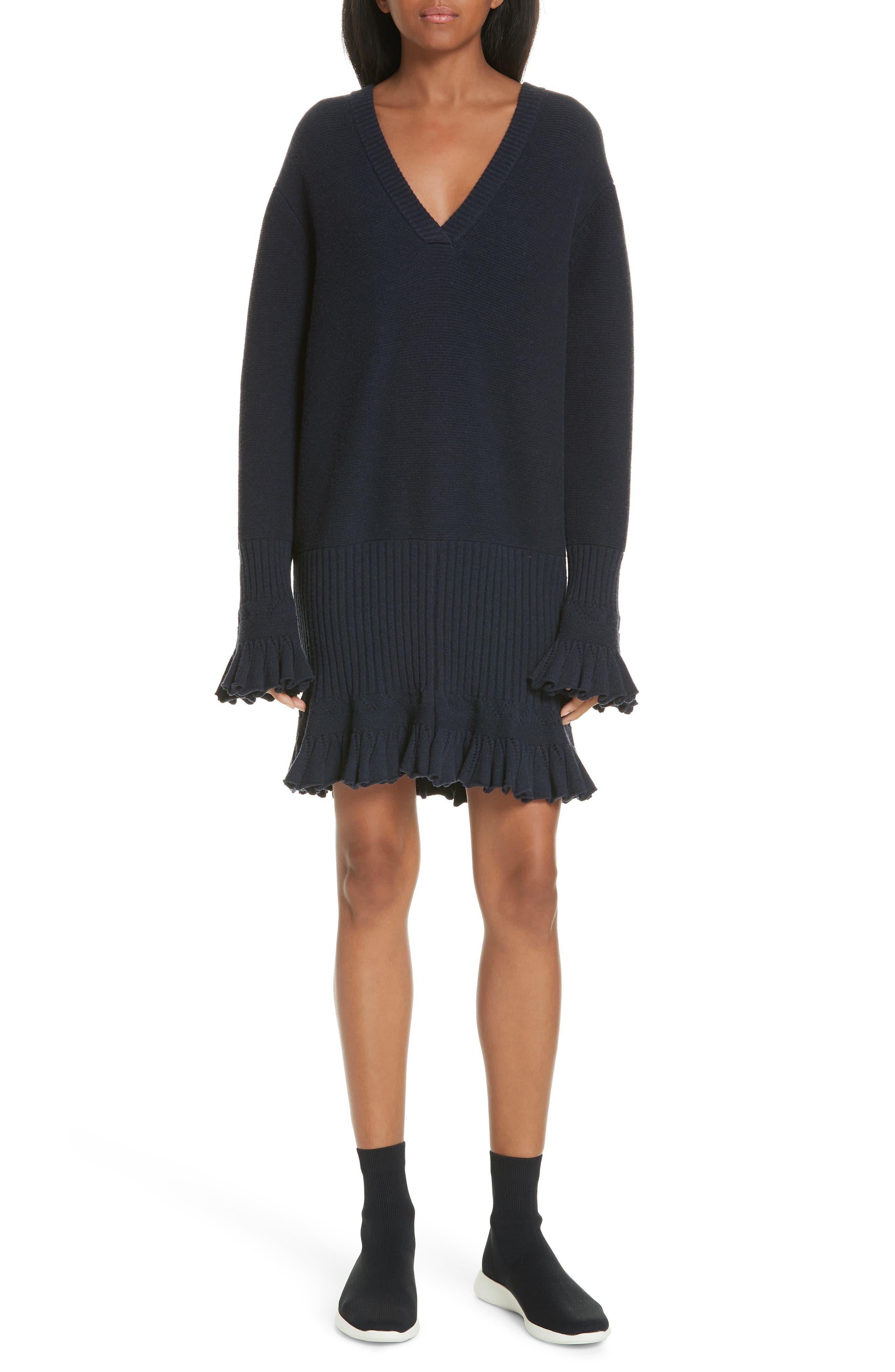 ,                             Ruffle Trim Sweater Dress,                             Main thumbnail 1, color,                             NAVY