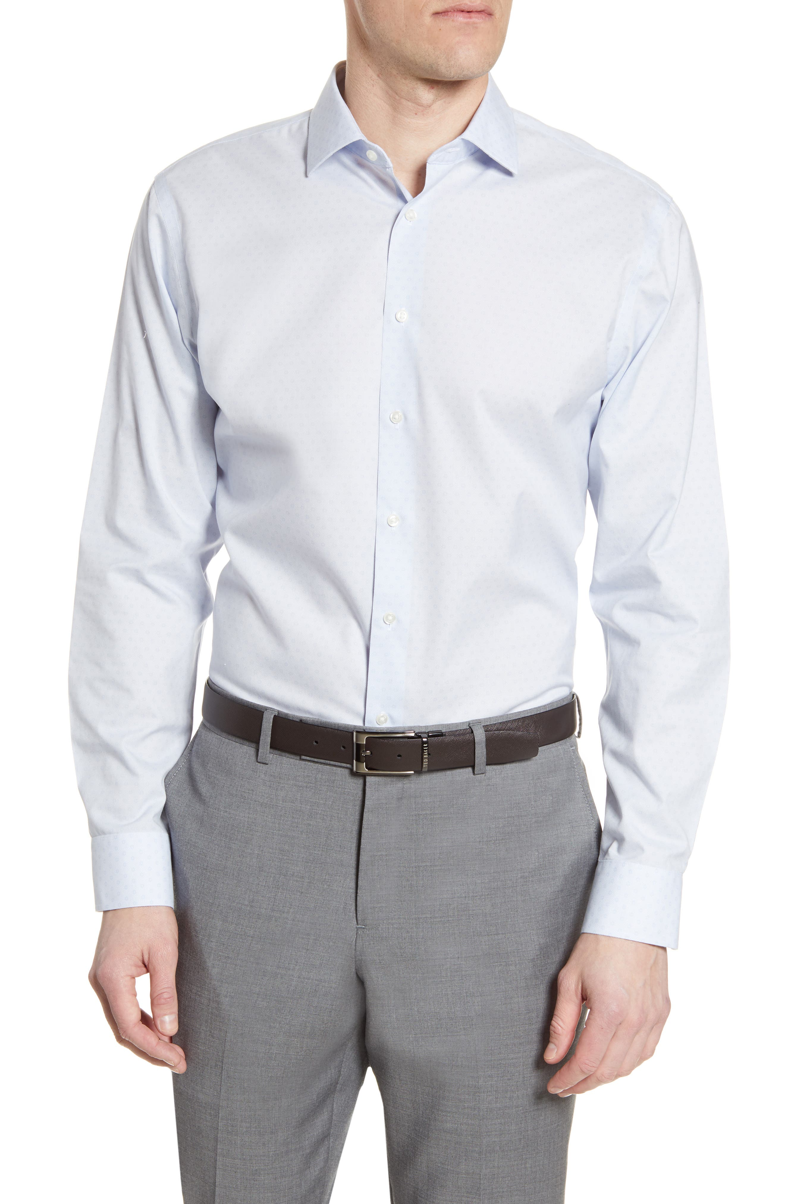 NORDSTROM MEN'S SHOP Trim Fit Non-Iron Neat Stretch Dress Shirt