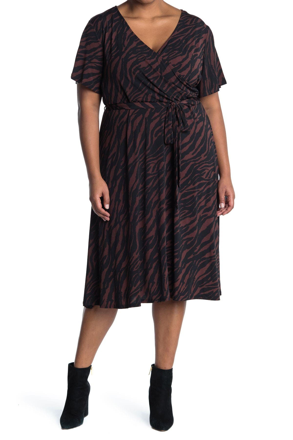 Image of WEST KEI Knit Wrap Dress Zebra Print