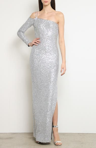 Statement Asymmetrical One-Shoulder Sequin Knit Gown, video thumbnail