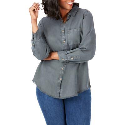 Plus Size Foxcroft Haven Garment Dyed Tencel Lyocell Shirt