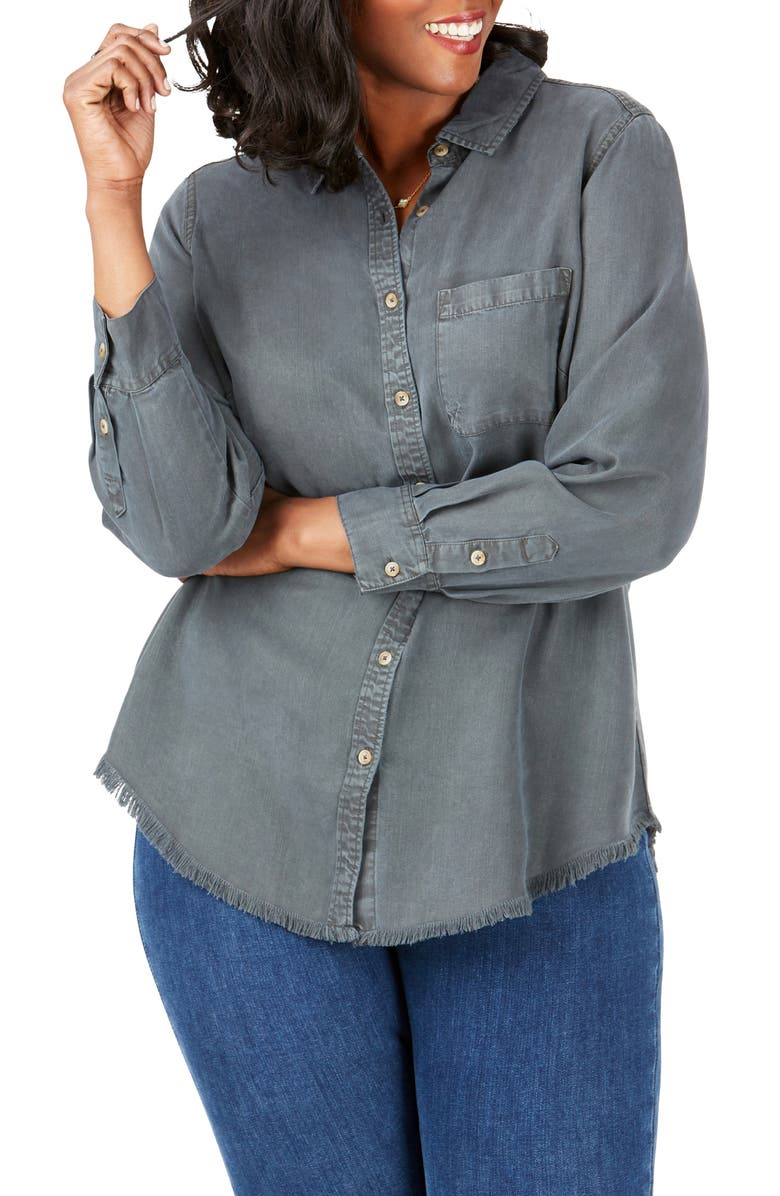 FOXCROFT Haven Garment Dyed Tencel<sup>®</sup> Lyocell Shirt, Main, color, CHARCOAL