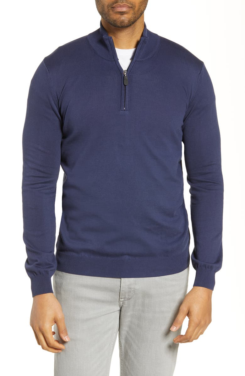 BUGATCHI Half Zip Sweater, Main, color, NAVY