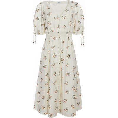 Madewell Tie Sleeve Smocked Waist Button Front Midi Dress, Ivory