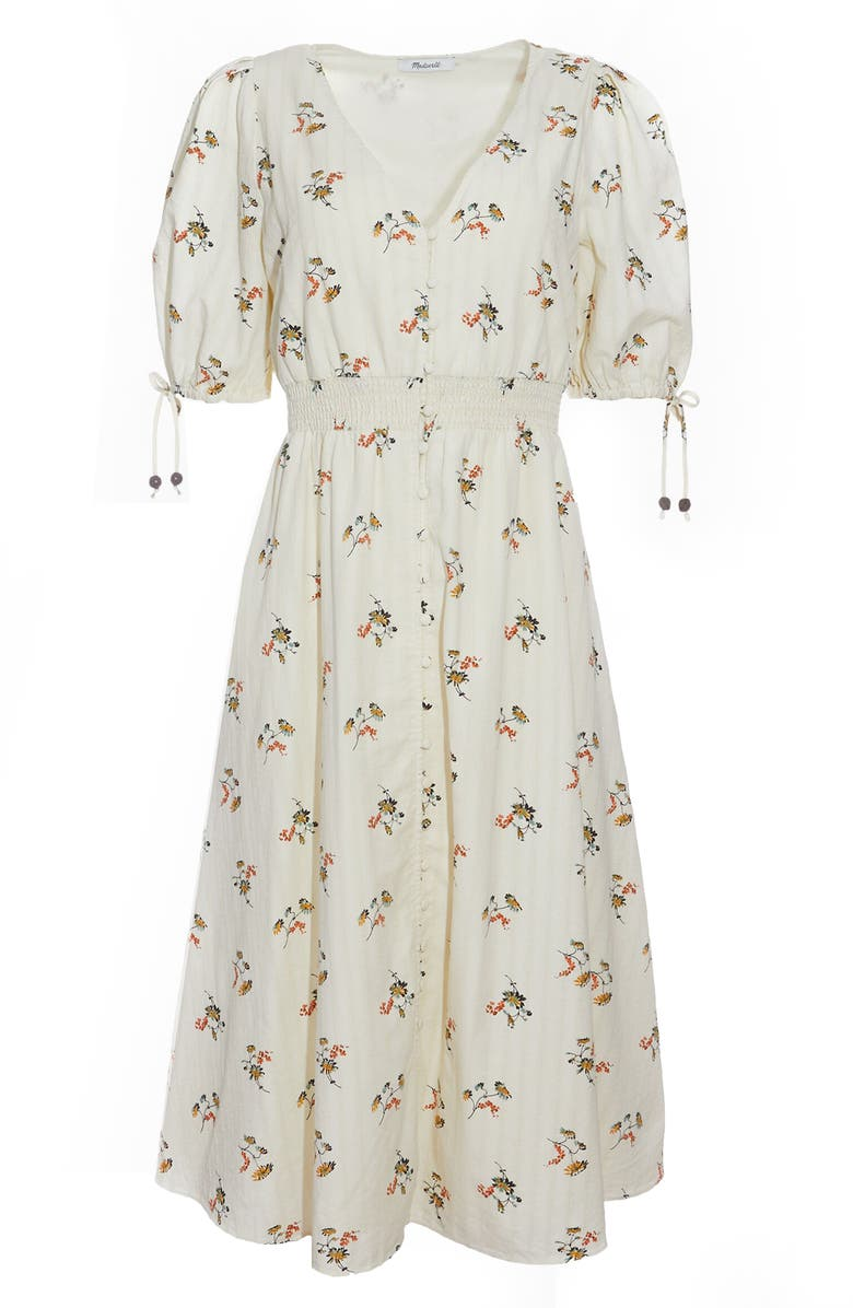 MADEWELL Tie Sleeve Smocked Waist Button Front Midi Dress, Main, color, GENGY FLORAL PALE PARCHMENT