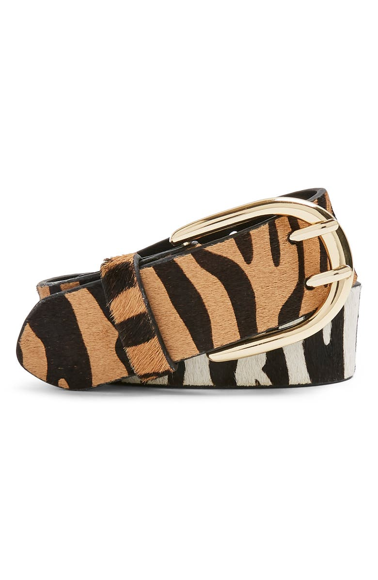TOPSHOP Zebra Mix Double Prong Belt, Main, color, BLACK MULTI