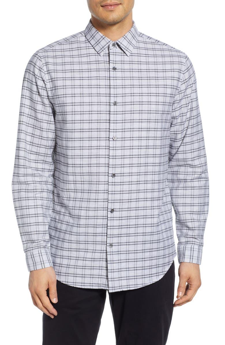 THEORY Tait Slim Fit Jaspé Grid Sport Shirt, Main, color, 097