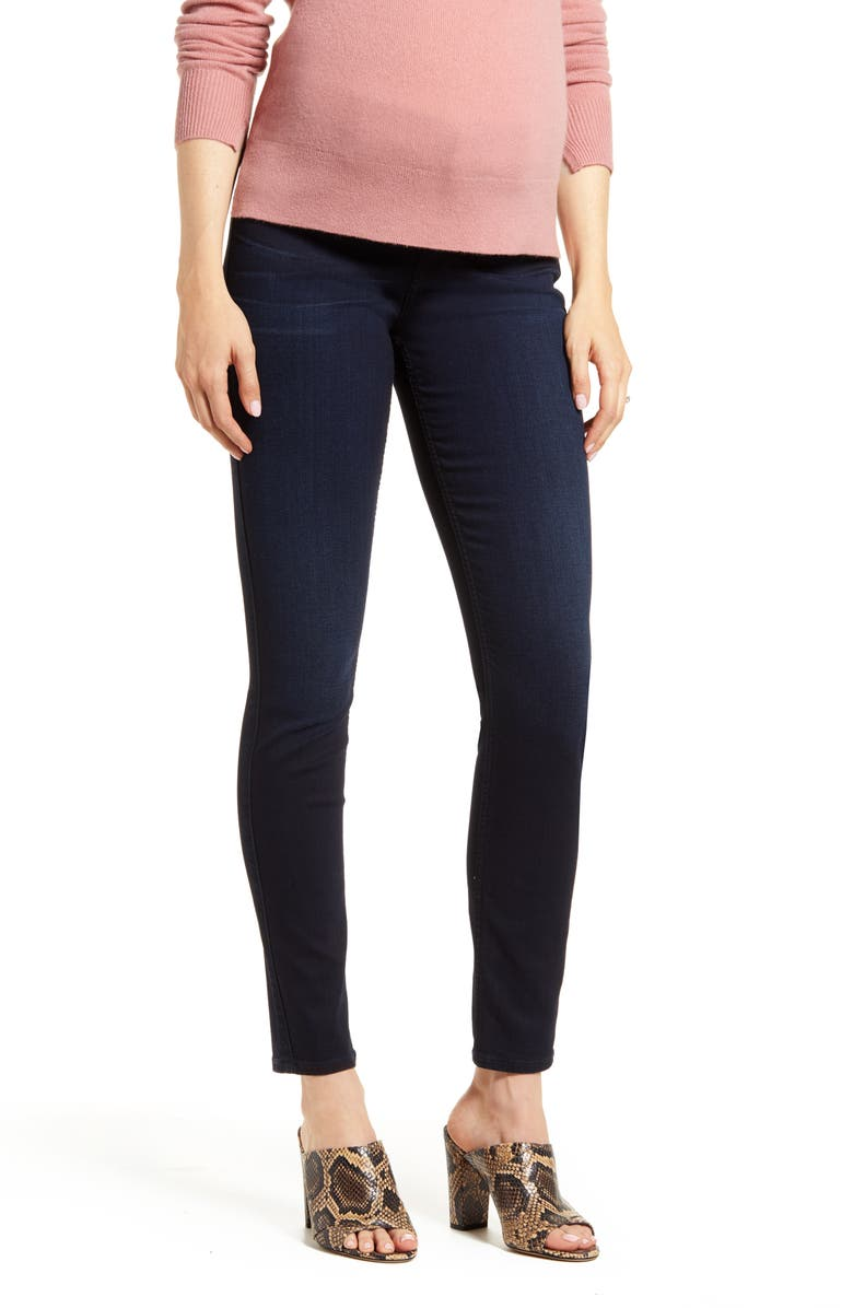 7 FOR ALL MANKIND<SUP>®</SUP> b(air) High Waist Ankle Skinny Maternity Jeans, Main, color, BAIR BLACK RIVER THAMES