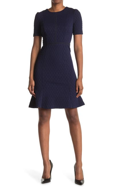 Image of Maggy London Textured Puff Sleeve Sheath Dress