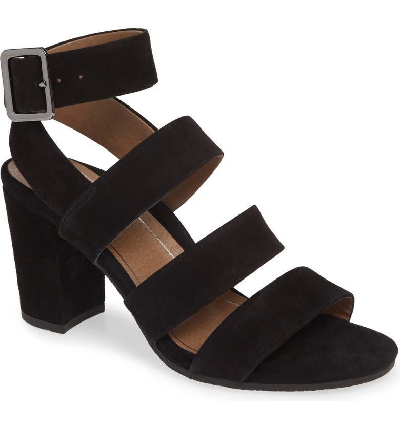 VIONIC Blaire Block Heel Sandal, Main, color, BLACK SUEDE