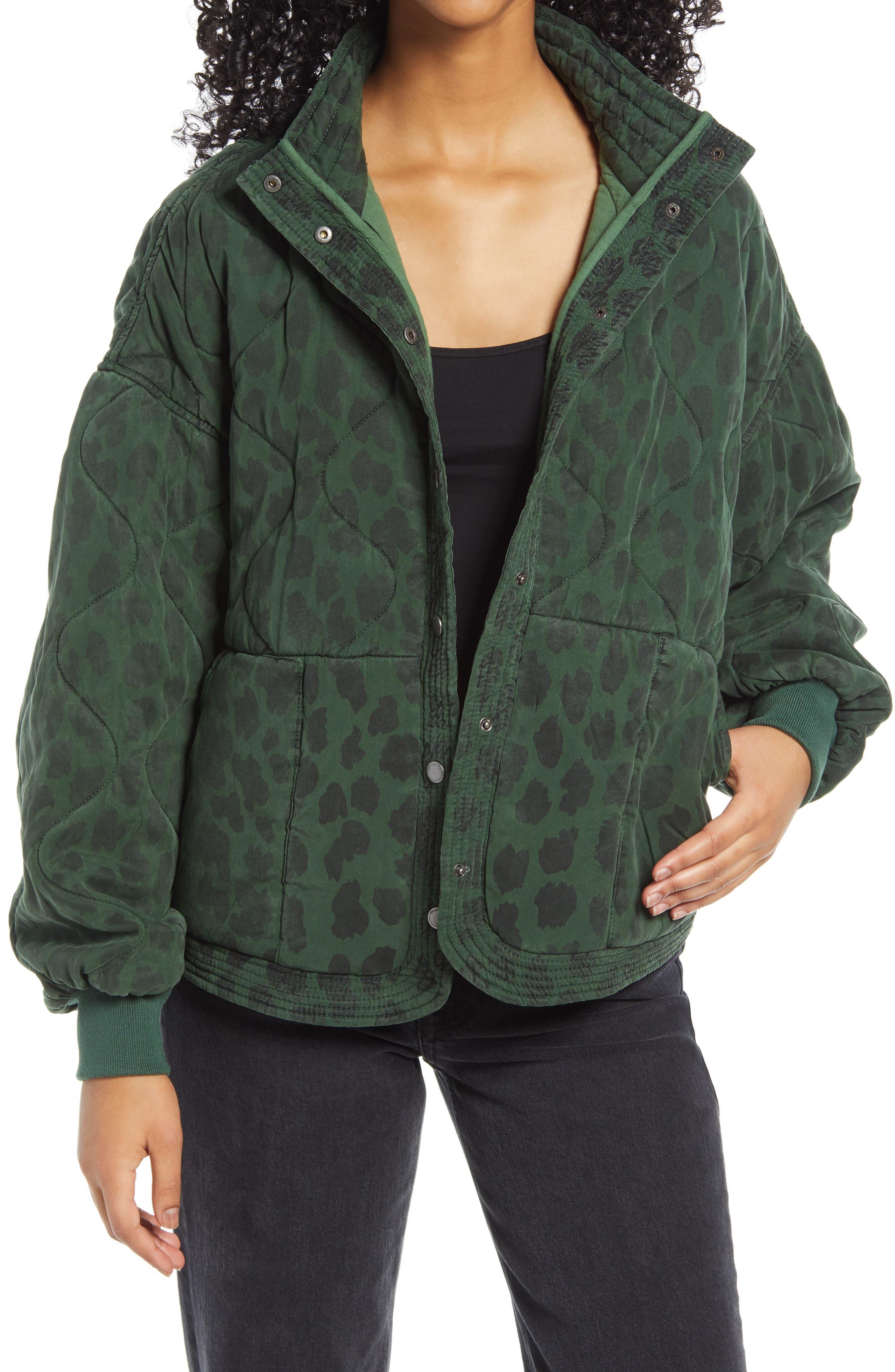 Women's Blanknyc Leopard Print Quilted Jacket, Size Medium - Green