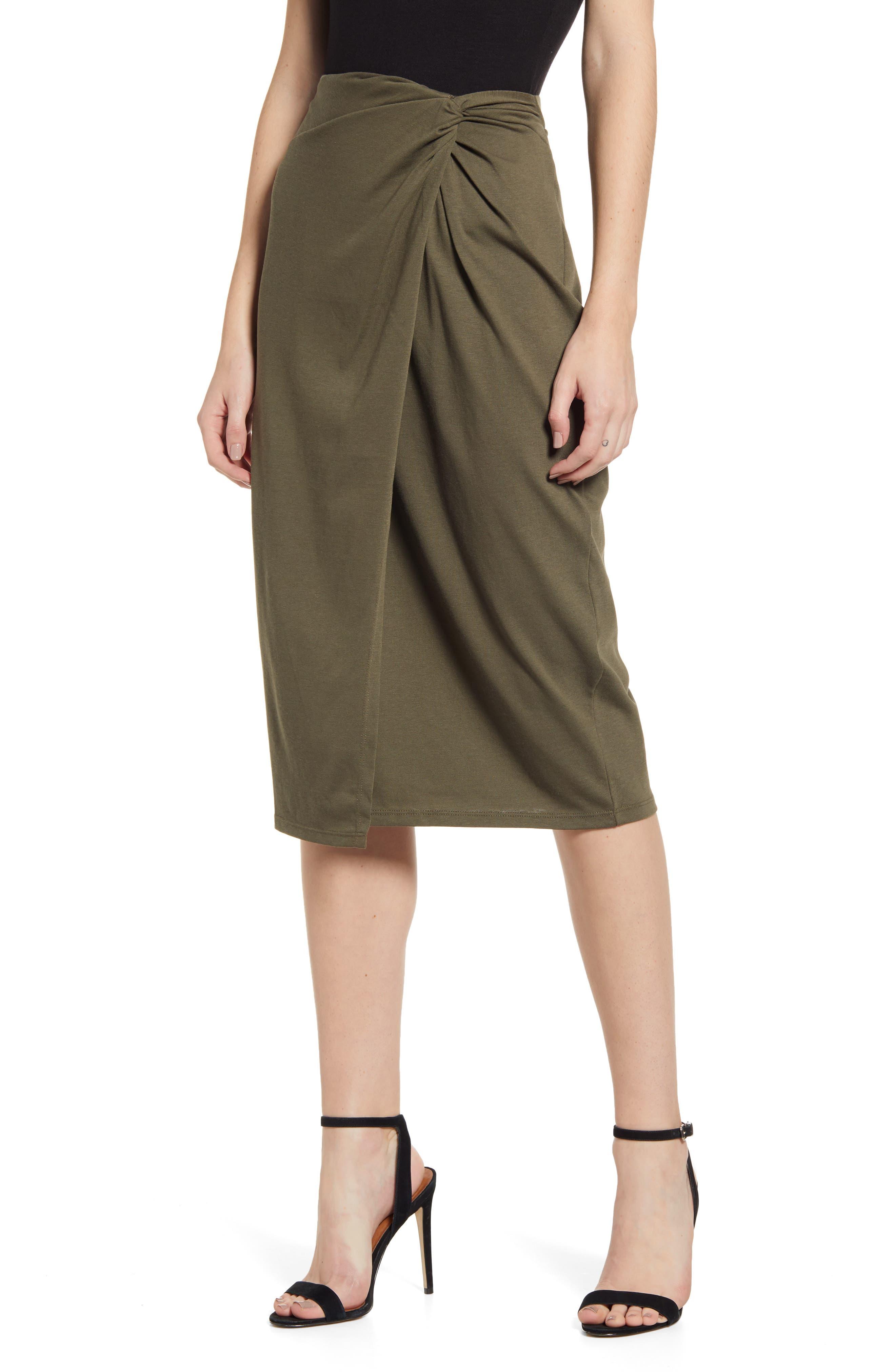 Chelsea28 Wrap Skirt, Green