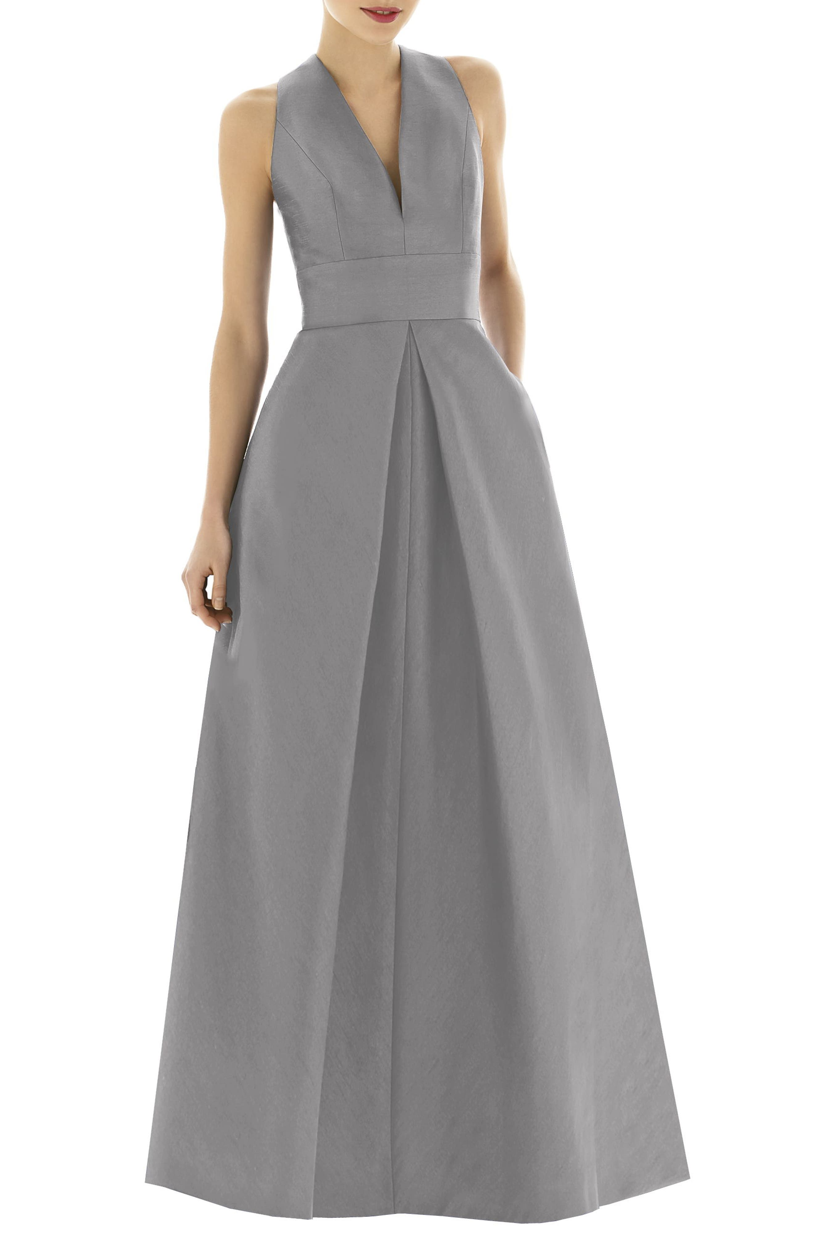 Alfred Sung V-Neck Dupioni Evening Gown, Metallic