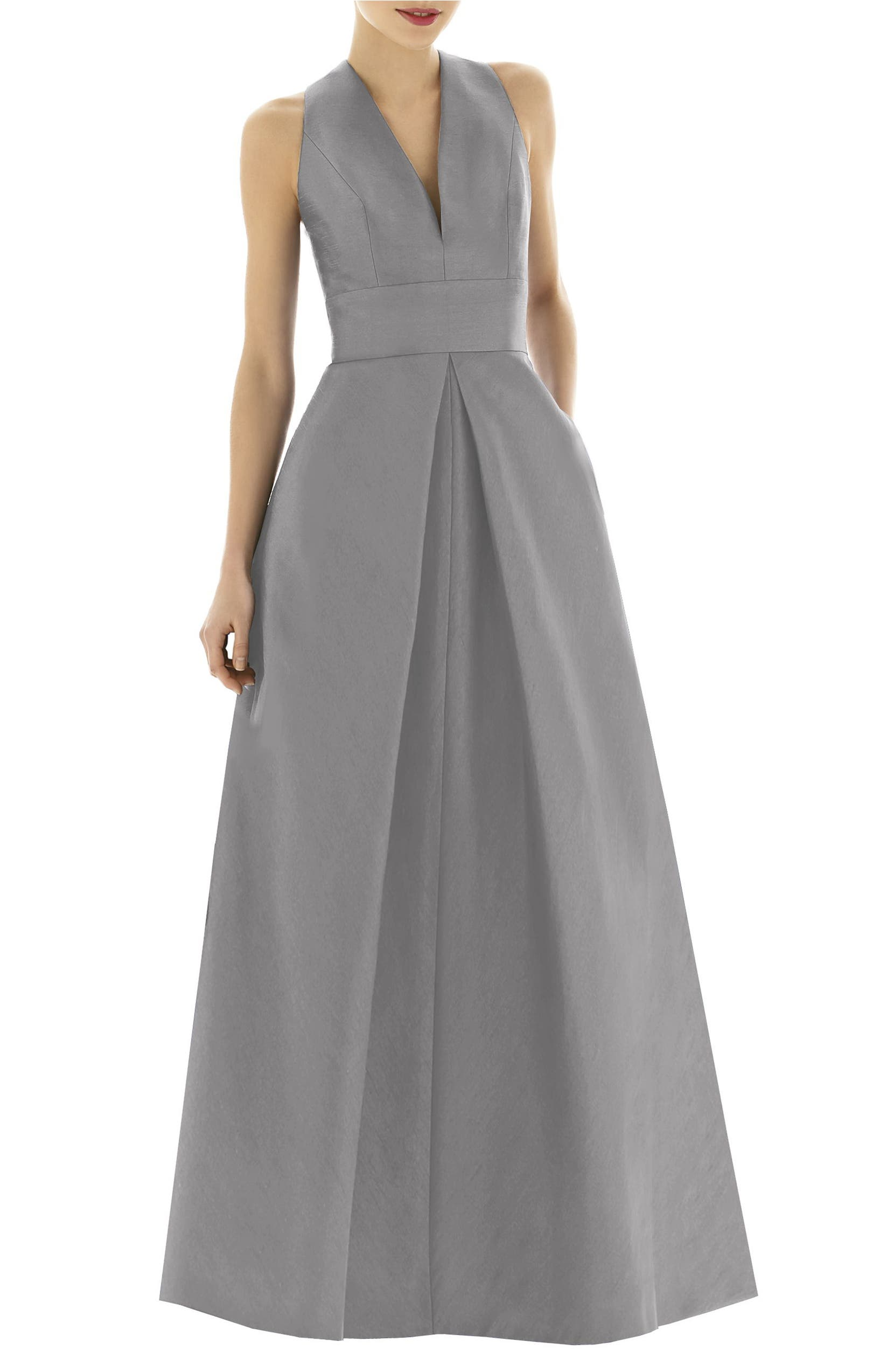 Alfred Sung V-Neck Dupioni Evening Gown (Regular & Plus Size ...