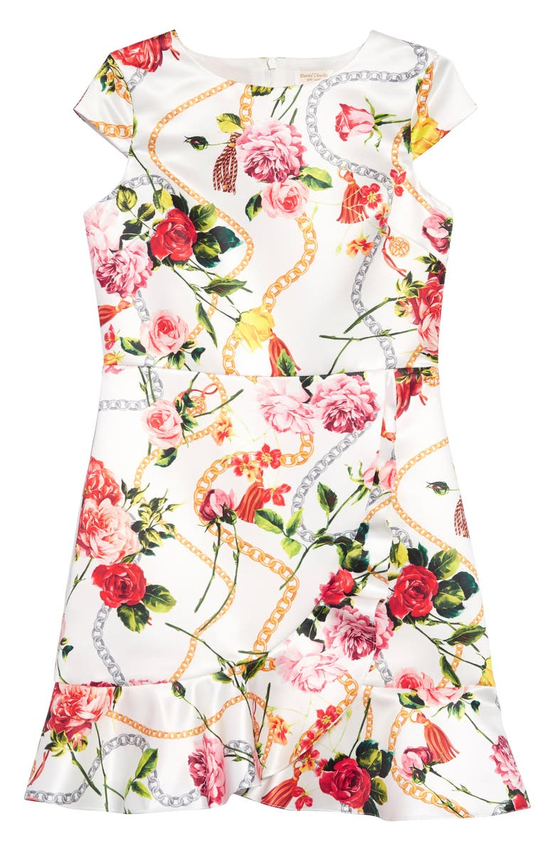 DAVID CHARLES Floral Chain Print Satin Dress, Main, color, IVORY