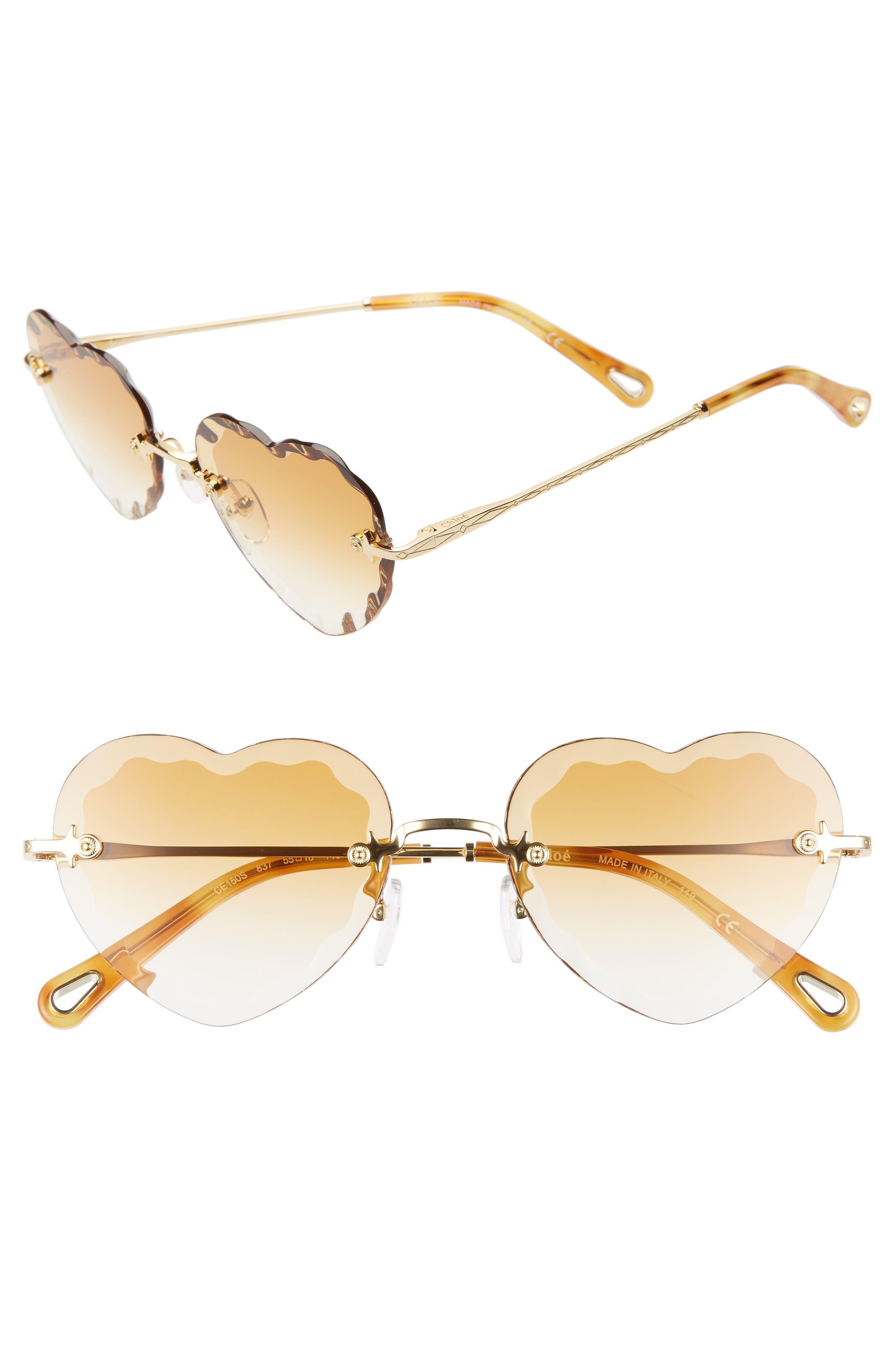 Chloe Rosie 55Mm Heart Shaped Sunglasses - Gradient Brick/ Gold