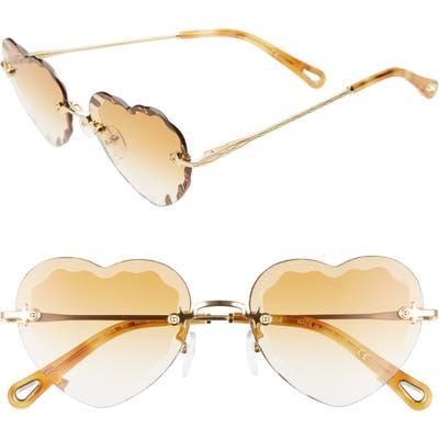 Chloe Rosie 55Mm Heart Shaped Sunglasses - Gradient Wine/ Gold