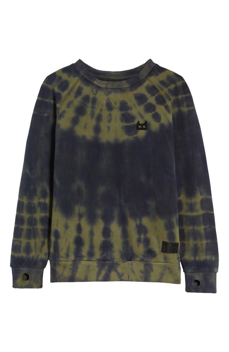 MUNSTERKIDS Tie Dye Crewneck Sweatshirt, Main, color, SAGE