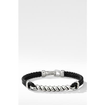 David Yurman Cable Id Black Leather Bracelet