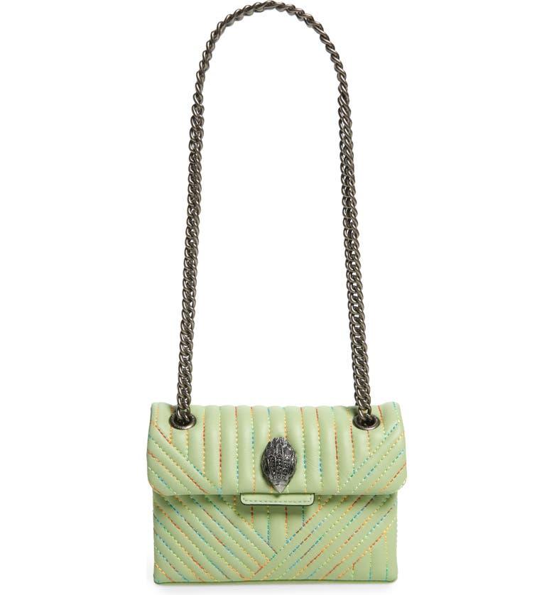 KURT GEIGER LONDON Mini Kensington Leather Crossbody Bag, Main, color, GREEN COMB