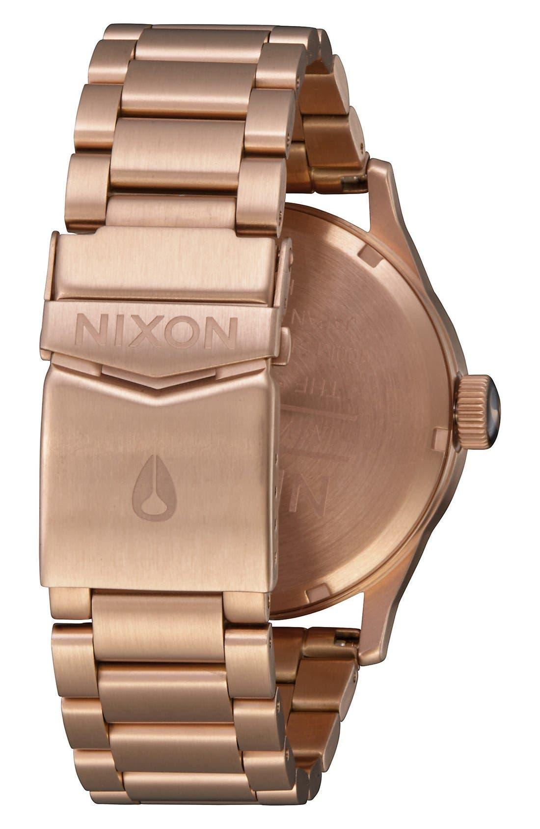 ,                             'The Sentry' Bracelet Watch, 42mm,                             Alternate thumbnail 4, color,                             ROSE GOLD/ BLACK