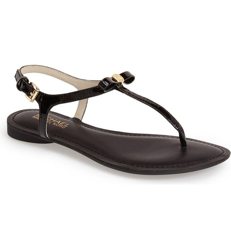 MICHAEL MICHAEL KORS 'Josie' T-Strap Leather Sandal, Main, color, 001