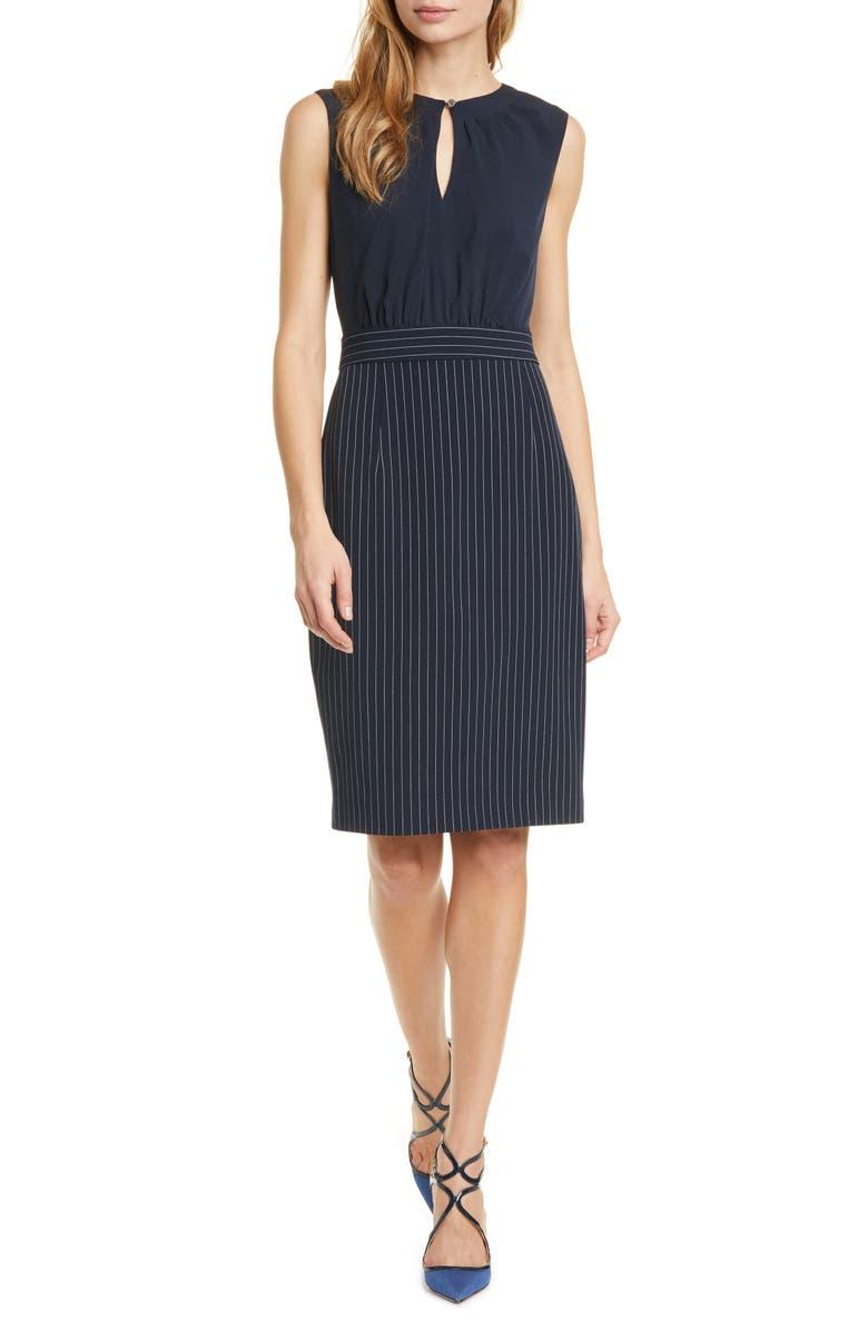 TED BAKER LONDON Mock 2-Piece Sheath Dress, Main, color, DK-BLUE