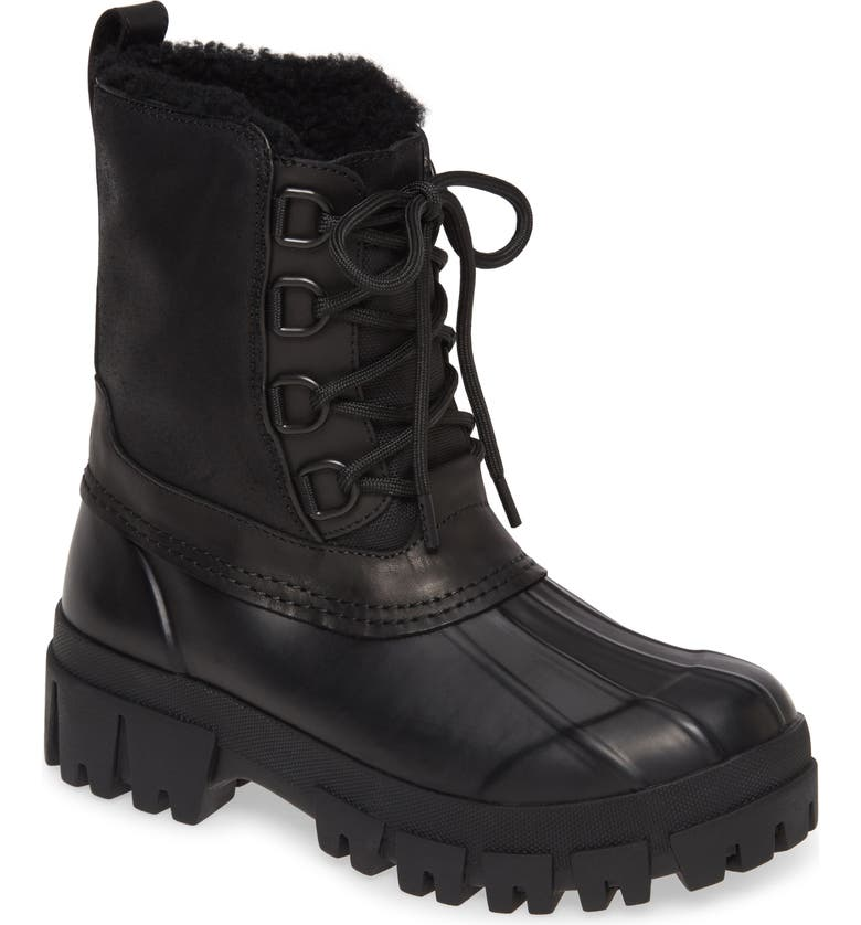 RAG & BONE Waterproof Duck Boot with Genuine Shearling Lining, Main, color, BLACK