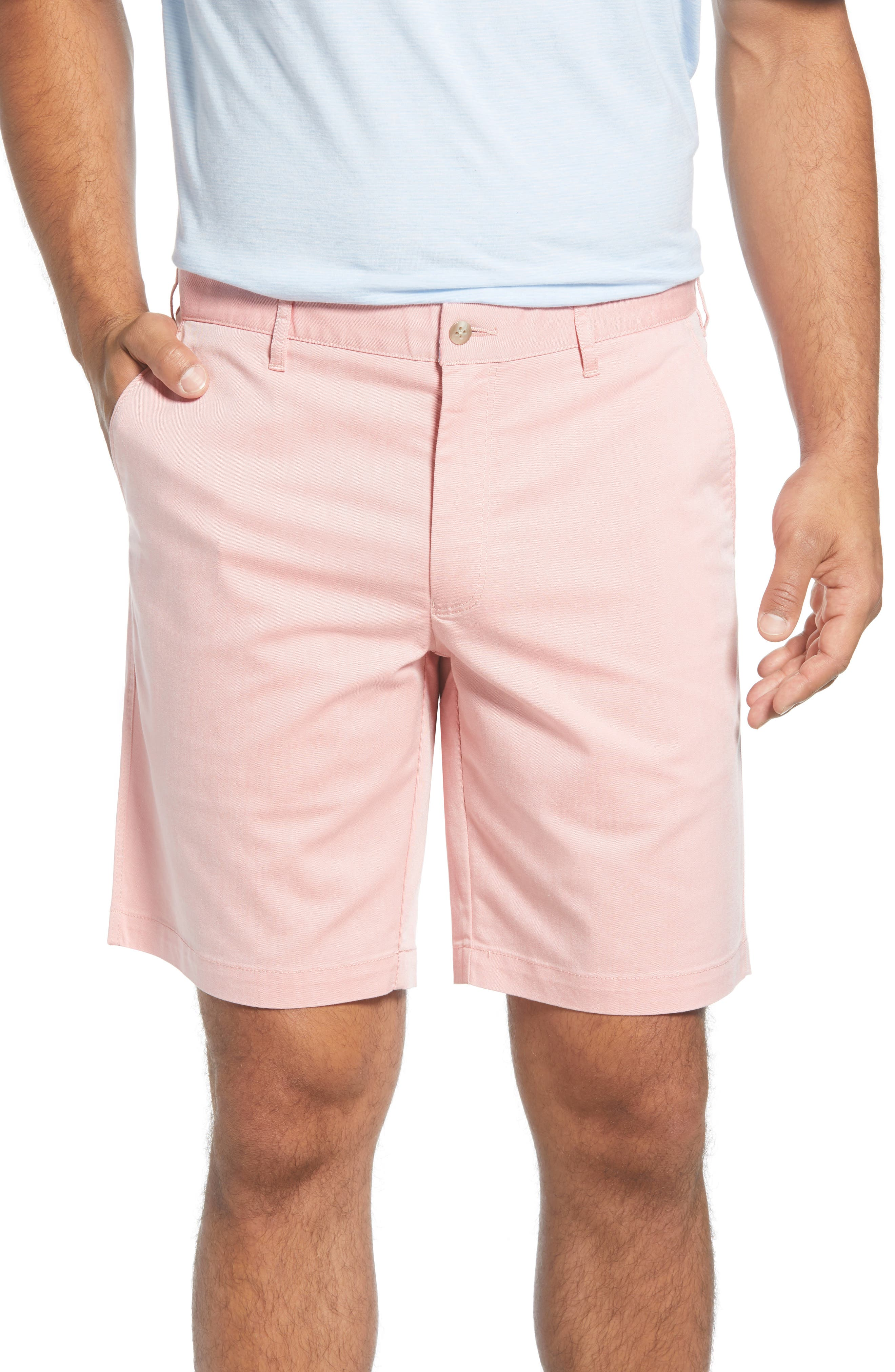 A touch of stretch brings easy comfort to staple flat-front chino shorts styled for versatility in a pale solid that pairs easily across your casual wardrobe. Style Name: Peter Millar Crown Comfort Chino Shorts. Style Number: 5886201. Available in stores.