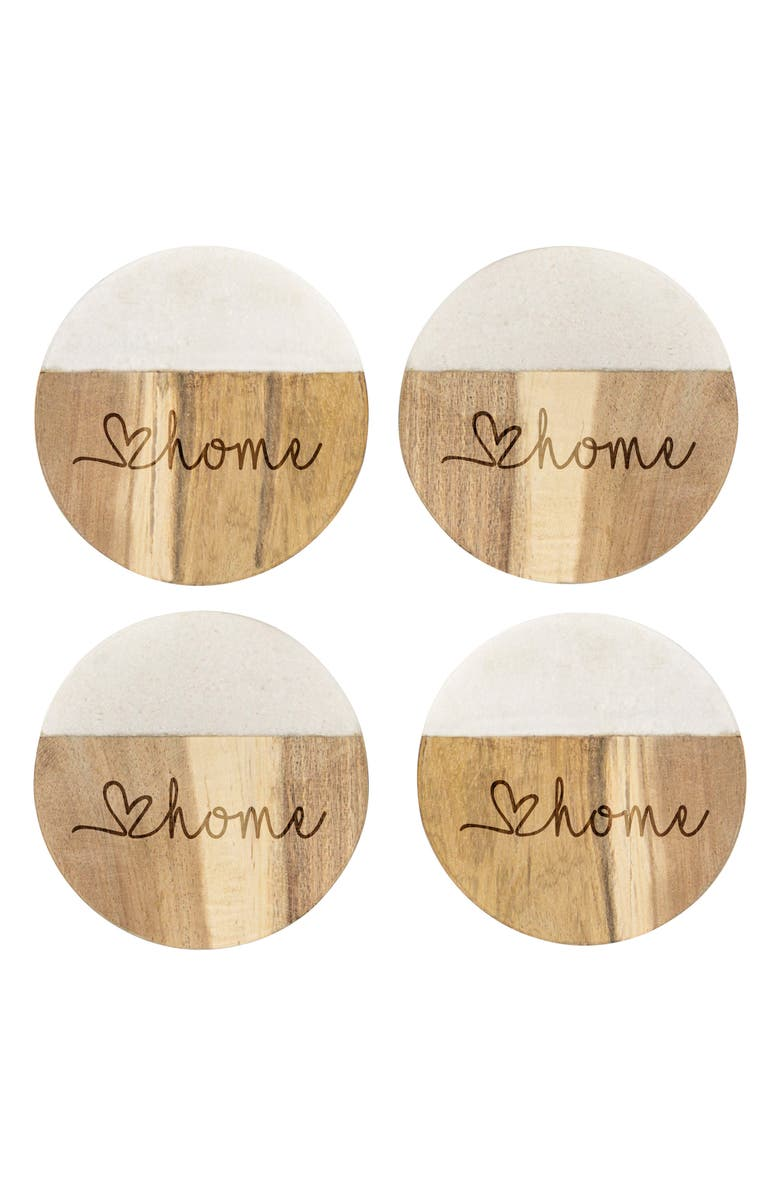 CATHY'S CONCEPTS Love Home Set of 4 Marble & Acacia Wood Coasters, Main, color, 200
