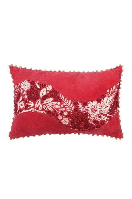Image of Peking Handicraft Red Holiday House Holly Berry Velvet 12x22 Pillow