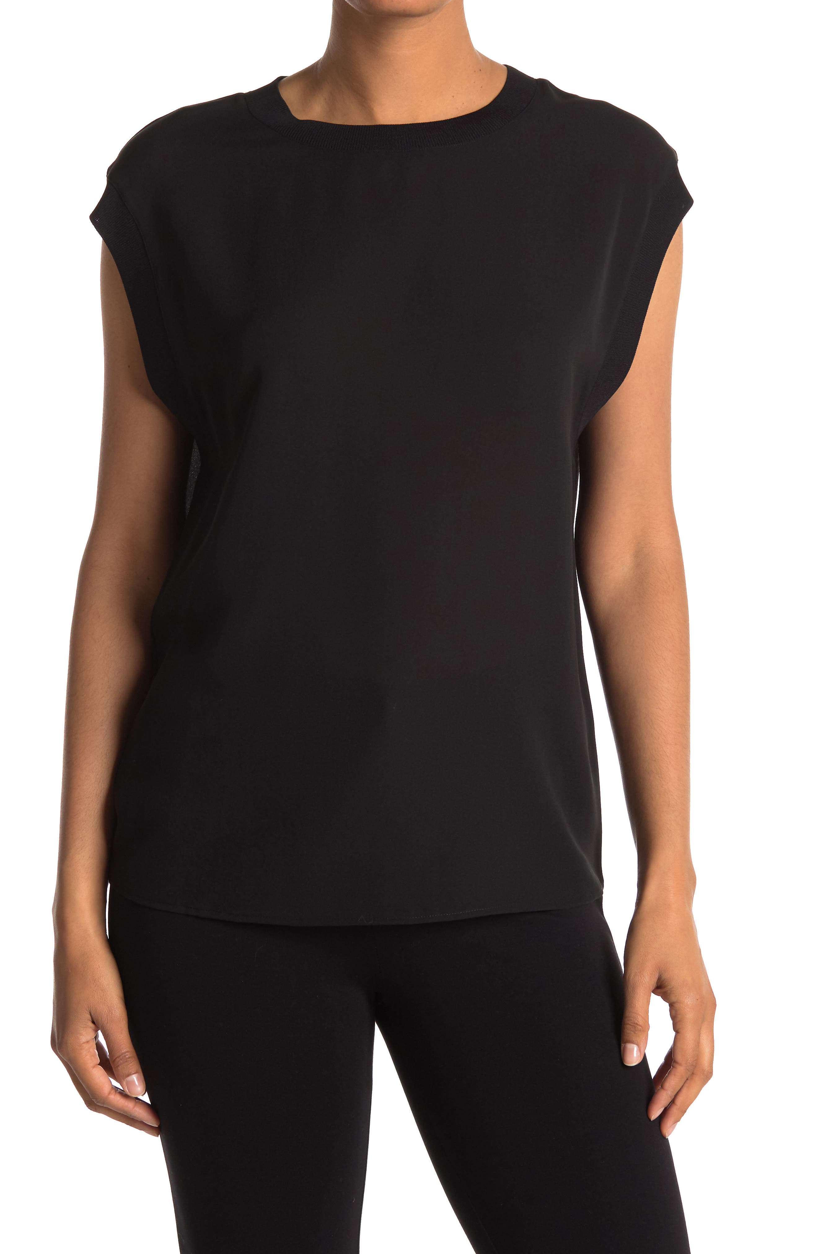 Image of Vince Ribbed Trim Silk Shell Tank