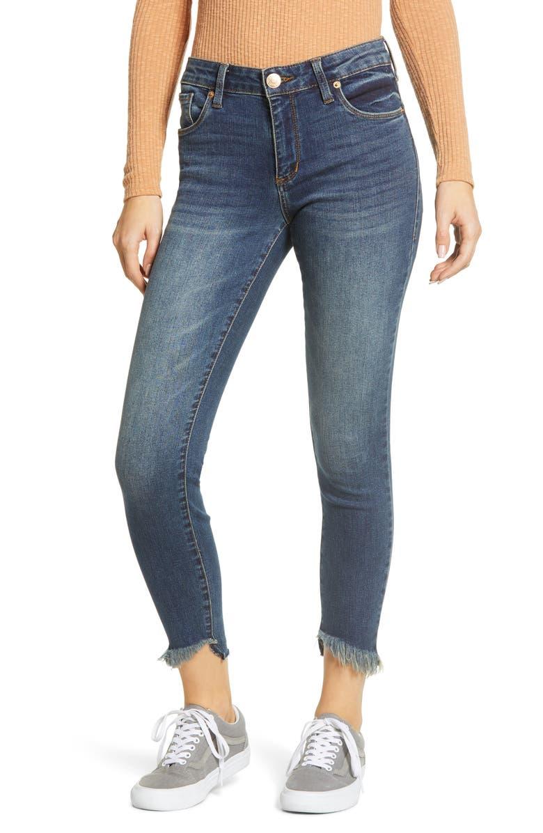 STS BLUE Fray Hem Crop Skinny Jeans, Main, color, DARK WASH