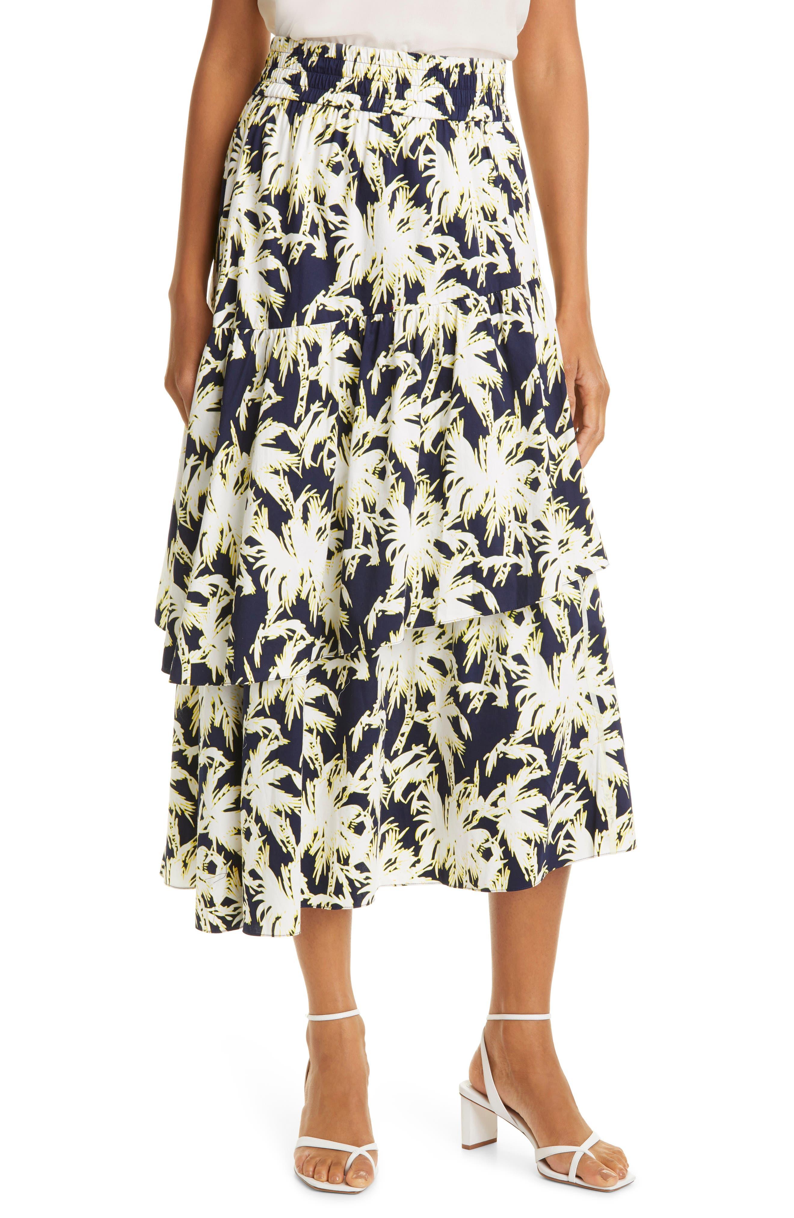 London Palm Tree Tiered Skirt