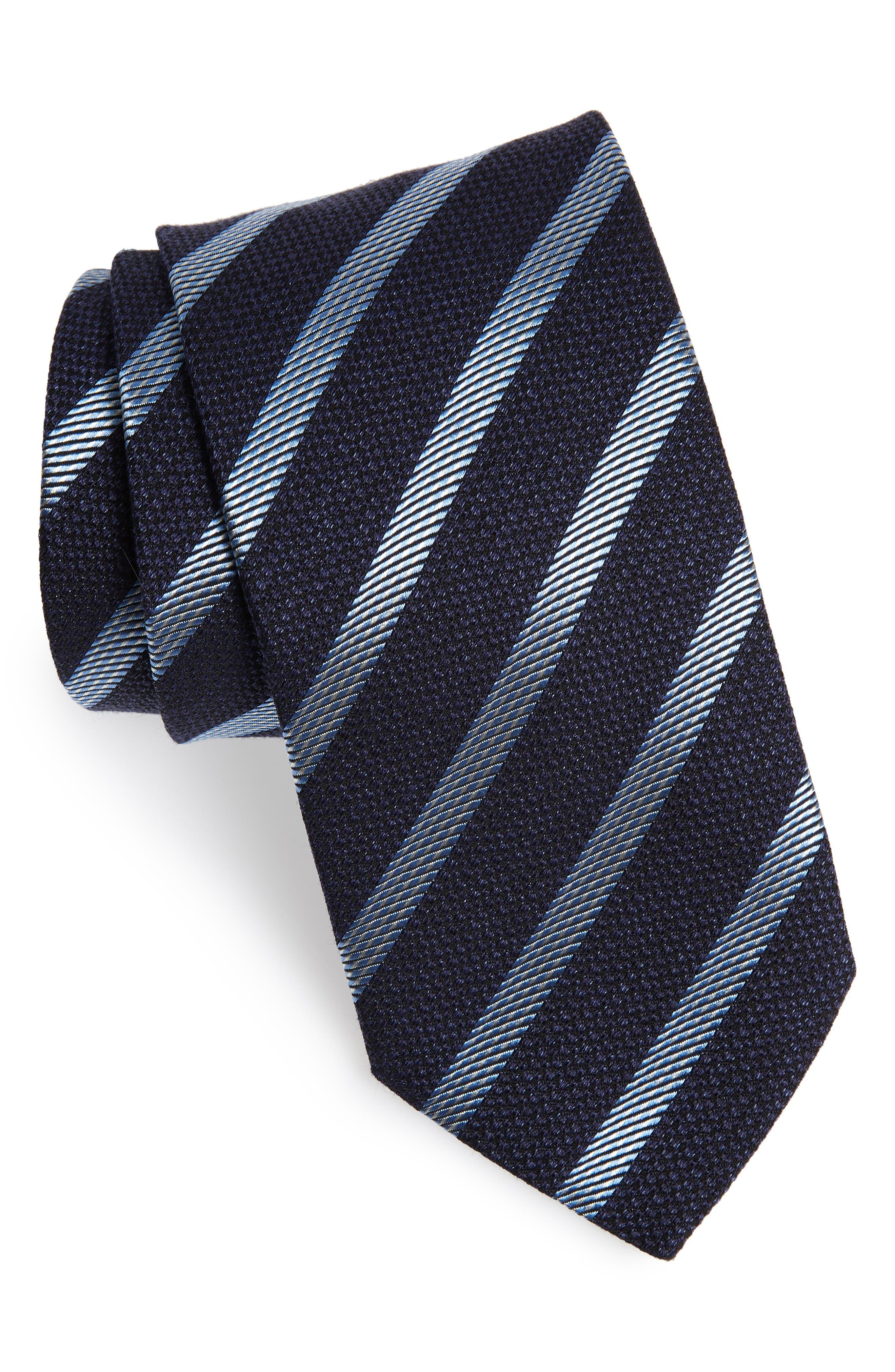 1920s Bow Ties | Gatsby Tie,  Art Deco Tie Mens Eton Stripe Cotton Blend Tie $74.98 AT vintagedancer.com