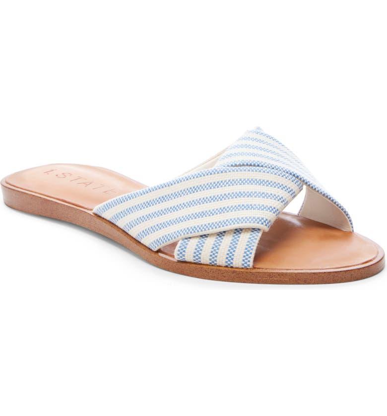 1.STATE Travor Slide Sandal, Main, color, BLUE LEATHER