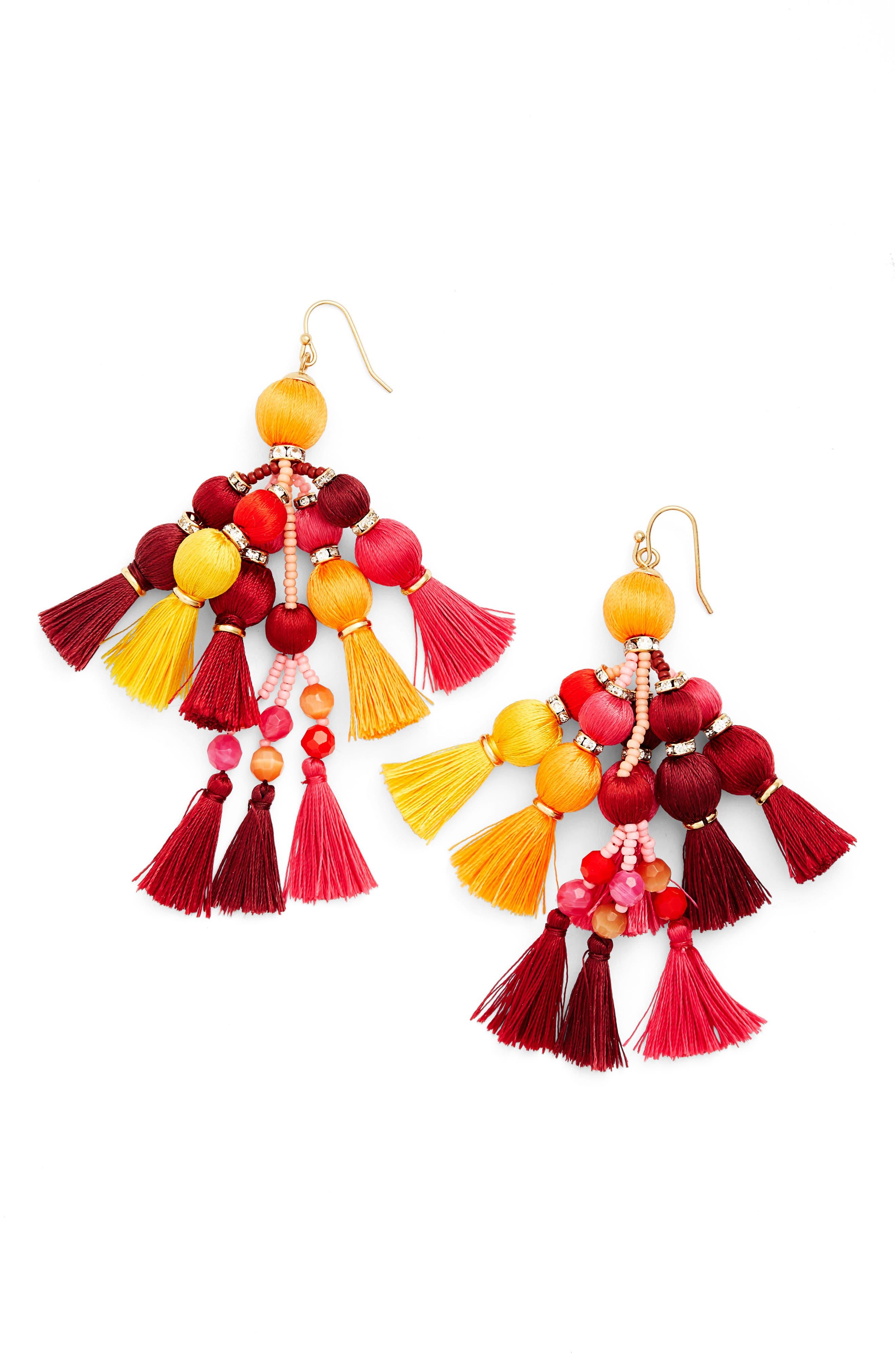 ,                             pretty pom tassel drop earrings,                             Main thumbnail 9, color,                             710