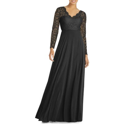 Dessy Collection Long Sleeve Lace & Chiffon Gown, Black