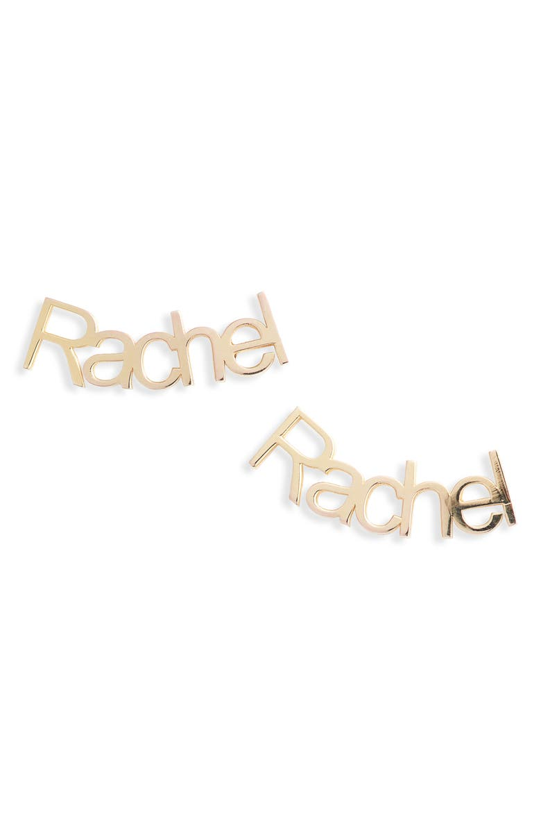 ARGENTO VIVO Personalized Nameplate Stud Earrings, Main, color, GOLD